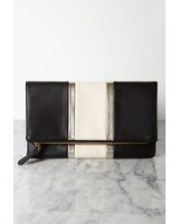 Forever 21 | Black Racing Stripe Faux Leather Clutch | Lyst