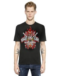 DSquared² | Black Marioska-Print T-Shirt for Men | Lyst