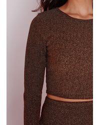 Missguided - Brown Ribbed Metallic Crop Top Bronze - Lyst