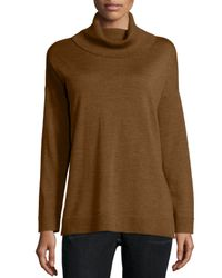Eileen Fisher | Metallic Merino Jersey Turtleneck Box Top | Lyst