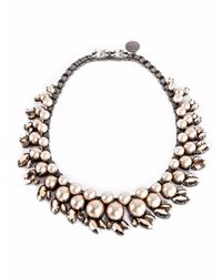 Ellen Conde | Natural Powder Pink Pearl And Crystal Sr3 Choker Necklace | Lyst