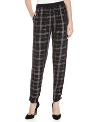 Nicole Miller - Black Jillian Beaded-plaid Drape Pants - Lyst