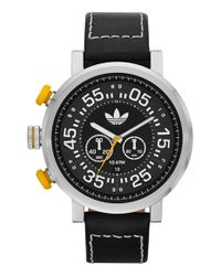 Adidas Originals - Black 'indianapolis' Chronograph Leather Strap Watch for Men - Lyst