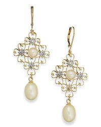 Macy's | Metallic 14K Gold Earrings, Cultured Freshwater Pearl (6Mm And 8Mm) And Diamond (1/3 Ct. T.W.) Drop Earrings | Lyst