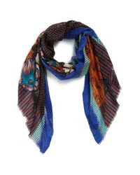 Etro - Yellow Print Pattern Cashmere Scarf - Lyst