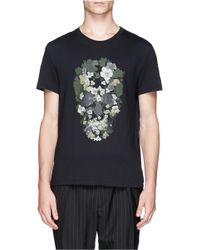 Alexander McQueen | Black Floral Skull T-shirt for Men | Lyst