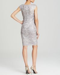 Sue Wong - Metallic Dress Cap Sleeve Soutache Beaded Sheath - Lyst