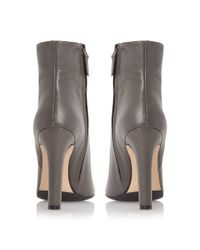 Dune Black | Gray Ora Leather Pointed Toe Ankle Boots | Lyst