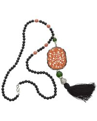 Kenneth Jay Lane | Multicolor Carved Coral Tassle Bead Necklace | Lyst