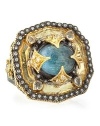 Armenta - Metallic Heraldry Decagon Labradorite Diamond Ring Size 65 - Lyst