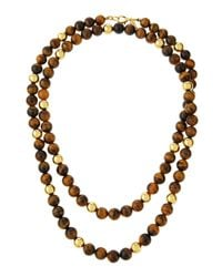 Kenneth Jay Lane - Multicolor Long Golden Tiger's Eye Beaded Necklace - Lyst