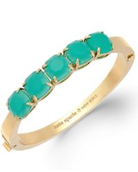 kate spade new york | Blue New York Gold-tone Green Glass Stone Hinge Bangle Bracelet | Lyst