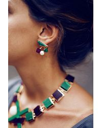 Eshvi - Multicolor Back To School Malachite Earrings - Lyst
