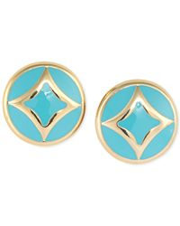 Carolee | Blue Gold-tone Turquoise Enamel Stud Earrings | Lyst