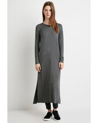 Forever 21 - Gray Heathered Side-slit Tunic - Lyst