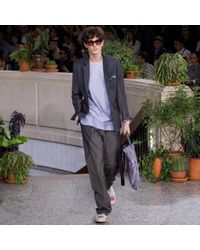 Paul Smith - Gray Grey Piece-Constructed Wool-Blend Panelled Trousers for Men - Lyst