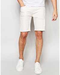 Asos Denim Shorts In Stretch Slim With Rip And Repair - Cream in ...