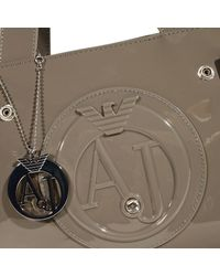 Armani Jeans | Gray Handbag Patent Leather Classic Mini Shopping Bag + Rh 29x20x10 Cm | Lyst