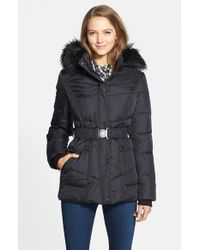 DKNY | Black 'hayley' Faux Fur Trim Hooded Belted Quilted Jacket | Lyst