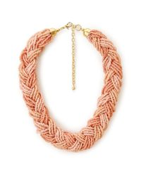Forever 21 - Pink Braided Beaded Ombre Necklace - Lyst