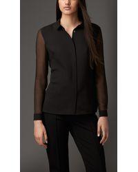 Burberry | Black Contrast Silk Shirt | Lyst