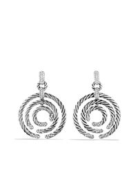 David Yurman - Metallic Willow Round Drop Earrings With Diamonds - Lyst