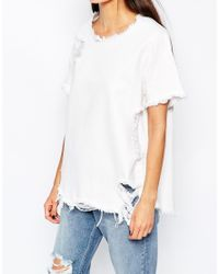 WÅVEN | White Denim T-shirt With Distressed Rip & Repair | Lyst