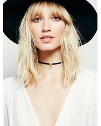 Free People | Black Luiny Womens Luiny Sol Leather Choker | Lyst