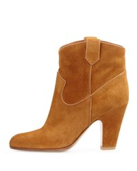 Gianvito Rossi - Brown Western Suede Ankle Boots - Lyst