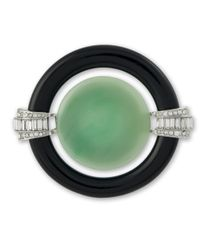 Kenneth Jay Lane | Black And Jade Art Deco Brooch | Lyst