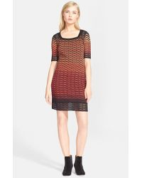 M Missoni | Red Fan Stripe Knit Dress | Lyst