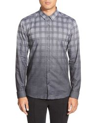 HUGO | Gray 'ero3 Check' Slim Fit Long Sleeve Sport Shirt for Men | Lyst
