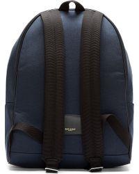 Saint Laurent | Blue Navy Leather_Trimmed Backpack for Men | Lyst