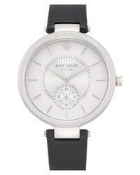 Kate Spade | Black 'perry' Crystal Accent Leather Strap Watch | Lyst