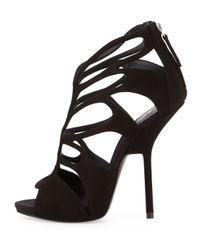 Giuseppe Zanotti | Black Suede Caged High-Heel Sandal | Lyst