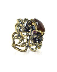 Alcozer & J - Multicolor Baroque Golden Brass With Fum Crystal And Micropearls Ring - Lyst