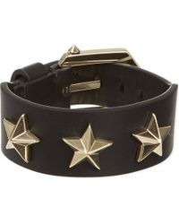 Givenchy | Black Star Studded Leather Bracelet | Lyst