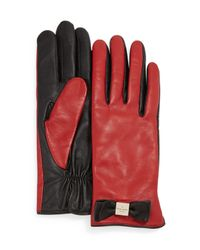 kate spade new york - Red Leather Bow Tech Gloves - Lyst