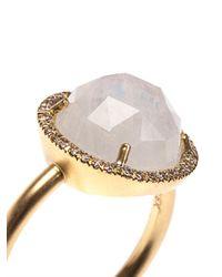 Irene Neuwirth | Metallic Diamond Rainbow Moonstone Gold Ring | Lyst