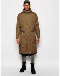 ASOS | Green Extreme Longline Parka Jacket In Khaki for Men | Lyst
