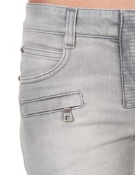 Balmain - Gray Skinny Mid-Rise Stretch-Denim Jeans - Lyst