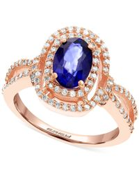Effy Collection | Blue Diffused Ceylon Sapphire (1-3/8 Ct. T.w.) And Diamond (3/8 Ct. T.w.) Ring In 14k Rose Gold | Lyst