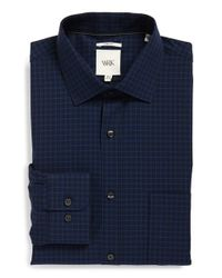 W.r.k. | Blue Extra Trim Fit Stretch Check Dress Shirt for Men | Lyst