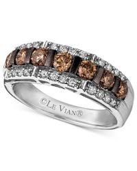 Le Vian | Brown Diamond Chocolate Diamond And White Diamond Band (1-1/6 Ct. T.w.) In 14k White Gold | Lyst