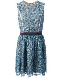 MSGM | Blue Short Lace Dress | Lyst