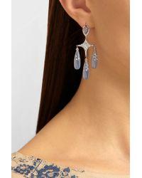 Fred Leighton - Blue 18karat White Gold Chalcedony and Diamond Chandelier Earrings - Lyst