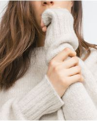Zara | Natural Oversized Sweater | Lyst