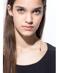 Mango - Metallic Earring And Chain Set - Lyst