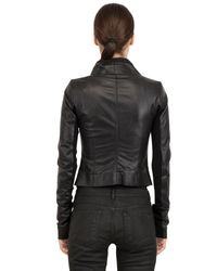 Rick Owens - Black Nappa Leather Biker Jacket for Men - Lyst