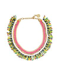 Ben-Amun - Metallic Hot Pink And Gold Woven Necklace With Beaded Fringe - Lyst